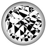 Shattered Life In Black & White Wall Clock (Silver)