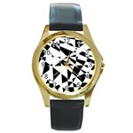 Shattered Life In Black & White Round Leather Watch (Gold Rim)