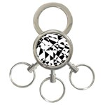 Shattered Life In Black & White 3-Ring Key Chain
