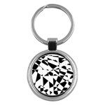 Shattered Life In Black & White Key Chain (Round)