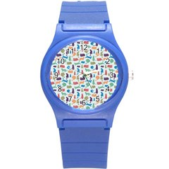Blue Colorful Cats Silhouettes Pattern Round Plastic Sport Watch (s) by Contest580383