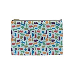 Blue Colorful Cats Silhouettes Pattern Cosmetic Bag (medium)  by Contest580383
