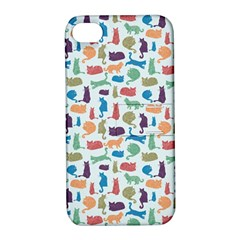 Blue Colorful Cats Silhouettes Pattern Apple Iphone 4/4s Hardshell Case With Stand by Contest580383