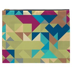 Scattered Pieces In Retro Colors Cosmetic Bag (xxxl) by LalyLauraFLM