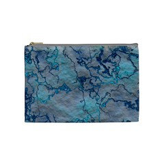 Marbled Lava Blue Cosmetic Bag (medium)  by MoreColorsinLife