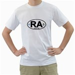 RA - Argentina Euro Oval Men s T-Shirt (White) (Two Sided)
