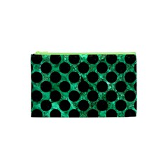 Circles2 Black Marble & Green Marble Cosmetic Bag (xs) by trendistuff