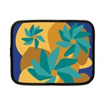 Urban Garden Abstract Flowers Blue Teal Carrot Orange Brown Netbook Case (Small)