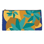 Urban Garden Abstract Flowers Blue Teal Carrot Orange Brown Pencil Cases