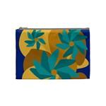 Urban Garden Abstract Flowers Blue Teal Carrot Orange Brown Cosmetic Bag (Medium)