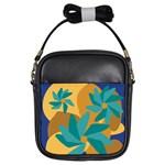 Urban Garden Abstract Flowers Blue Teal Carrot Orange Brown Girls Sling Bags