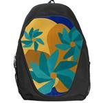 Urban Garden Abstract Flowers Blue Teal Carrot Orange Brown Backpack Bag