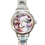 White Holy Bible Spring Flowers Christian Religious Round Italian Charm Watch