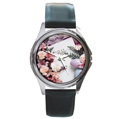 White Holy Bible Spring Flowers Christian Religious Round Metal Watch from DesignMonaco.com Front