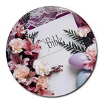 White Holy Bible Spring Flowers Christian Religious Round Mousepad
