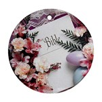 White Holy Bible Spring Flowers Christian Religious Ornament (Round)