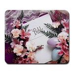 White Holy Bible Spring Flowers Christian Religious Large Mousepad