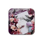 White Holy Bible Spring Flowers Christian Religious Rubber Square Coaster (4 pack)