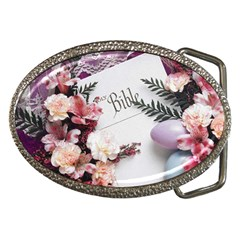 White Holy Bible Spring Flowers Christian Religious Belt Buckle from DesignMonaco.com Front