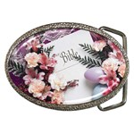 White Holy Bible Spring Flowers Christian Religious Belt Buckle