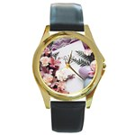 White Holy Bible Spring Flowers Christian Religious Round Gold Metal Watch