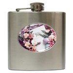 White Holy Bible Spring Flowers Christian Religious Hip Flask (6 oz)