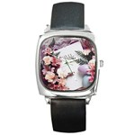 White Holy Bible Spring Flowers Christian Religious Square Metal Watch