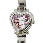 White Holy Bible Spring Flowers Christian Religious Heart Italian Charm Watch