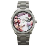 White Holy Bible Spring Flowers Christian Religious Sport Metal Watch