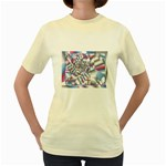 Picasso Speaks Stained Glass Fractal Women s Yellow T-Shirt