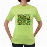 Picasso Speaks Stained Glass Fractal Women s Green T-Shirt