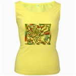 Picasso Speaks Stained Glass Fractal Women s Yellow Tank Top