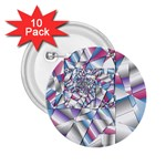 Picasso Speaks Stained Glass Fractal 2.25  Button (10 pack)