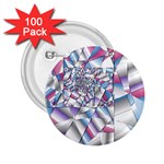 Picasso Speaks Stained Glass Fractal 2.25  Button (100 pack)