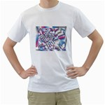 Picasso Speaks Stained Glass Fractal White T-Shirt