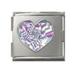 Picasso Speaks Stained Glass Fractal Mega Link Heart Italian Charm (18mm)