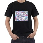 Picasso Speaks Stained Glass Fractal Black T-Shirt