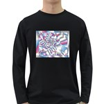 Picasso Speaks Stained Glass Fractal Long Sleeve Dark T-Shirt