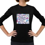 Picasso Speaks Stained Glass Fractal Women s Long Sleeve Dark T-Shirt