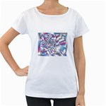Picasso Speaks Stained Glass Fractal Maternity White T-Shirt