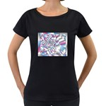 Picasso Speaks Stained Glass Fractal Maternity Black T-Shirt