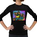 Lucy in the Sky With Diamonds Fractal Women s Long Sleeve Dark T-Shirt