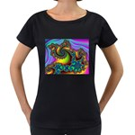 Lucy in the Sky With Diamonds Fractal Maternity Black T-Shirt