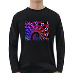 Groovy 60s Shag Fractal Long Sleeve Dark T-Shirt