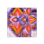Crystal Star Dance, Abstract Purple Orange Satin Bandana Scarf
