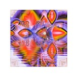 Crystal Star Dance, Abstract Purple Orange Small Satin Scarf (Square)