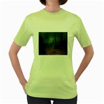 Gothic Dark Forest with Night Fog Women s Green T-Shirt