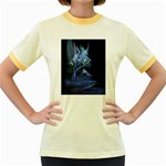 Gothic Blue Ice Crystal Palace Fantasy Women s Fitted Ringer T-Shirt