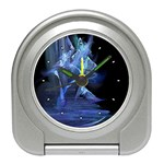 Gothic Blue Ice Crystal Palace Fantasy Travel Alarm Clock