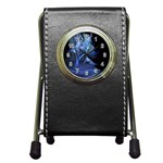 Gothic Blue Ice Crystal Palace Fantasy Pen Holder Desk Clock